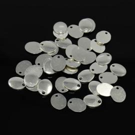 10 stuks blanco tibetaans zilveren bedeltjes verzilverd 10 x 8 x 1mm Ga: 1,5mm
