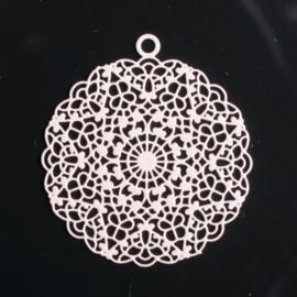 1x Hanger Bohemian rond 24mm oud roze oogje: 1,5mm