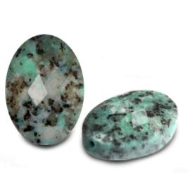 1x Natuursteen kralen facet ovaal Turquoise blue ca. 18x13mm (Ø1.5mm)