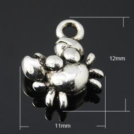 10x Tibetaans zilveren bedel van een krab 12 x 11 x 4mm Gat 2mm