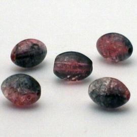 30 stuks crackle glas kralen ovaal 11 x 8,5mm roze grijs