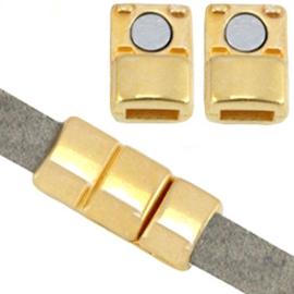 DQ metaal magneet sluiting (voor 5mm plat leer) Goud (nikkelvrij)