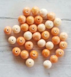 15 stuks Keramische Glaskralen 8mm Orange mix