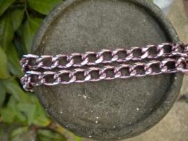 90 cm prachtige Jasseron roze-zilver schakel 9 x 14 mm