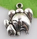 4 x Tibetaans zilveren bedeltje van twee olifantjes 17x18 mm
