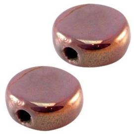 1 x DQ Griekse keramiek kralen 13mm rond plat Azore groen ca. 13 mm Ø 2.5 mm