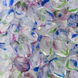 10 x Tsjechië kristal facet glas kraal 12 x 8 mm  gat: 2 mm Kleur: blauw, groen, rood, transparant