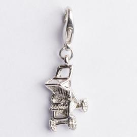Be Charmed bedel kinderwagen met karabijnsluiting zilver met een rhodium laag (nikkelvrij)