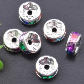 50 stuks Verzilverde Kristal Rondellen 8 mm Multicolor