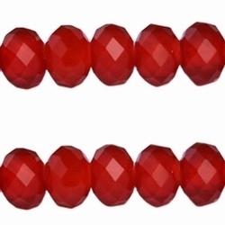 10 Stuks Top facetkraal rondel rood opaque 8 x 6mm