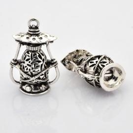 Prachtige Bali Style Tibetaans zilveren lantaarn 51 x 32 x 22mm, gat:  3mm