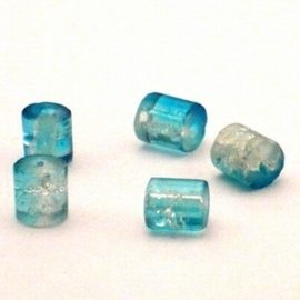 30 stuks crackle glas kralen Cilindervorm 7 x 8mm blauw transparant