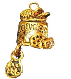 2 x Tibetaans zilveren bedel koekjes trommel goud kleur