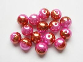 15 stuks tweekleurige glas parels van 10mm Gat: 1,5mm roze-goud
