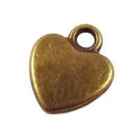 6 x tibetaans zilveren bedel hartje 12x11mm geel koper kleur
