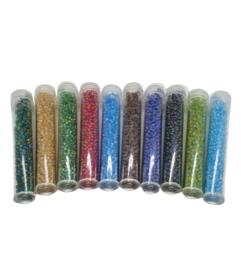 100 gram 10 kleuren buisjes frosted rainbow rocailles 2mm