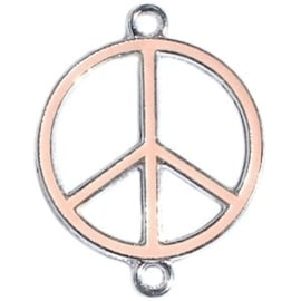 Bedel zilver 2 ogen peace Tropical peach ca. 29 x 22 mm