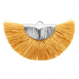 Kwastjes hanger Silver-honey brown