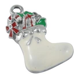 2 x Bedeltje kerst laars met cadeaus met emaille 23 x 14 x 4mm gat: 2mm