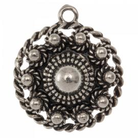 Metalen Zeeuwse knop 1 oog Antiek zilver 28mm oogje: 2mm