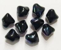 Per stuk Glaskraal grillig zwart met olie-glans 12 mm
