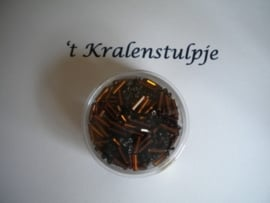 Pracht - glasstiften buisjes met zilverinslag 6mm 17 gram roest