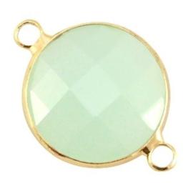 1x Crystal glas tussenstukken rond Crysolite green 24x17 mm