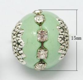 Schitterende handgemaakte Kashmiri kraal 16~18 x 15~16 mm ingelegd met metaal en strass Gat: 2mm pale green