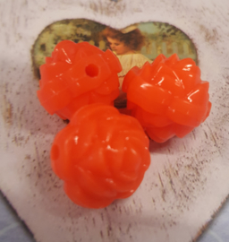 Per stuk kunststof roos oranje 15mm x 15 mm gat 2mm