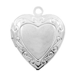 1 x Basic Quality metalen bedels medaillon hart Antiek zilver 22x19 mm