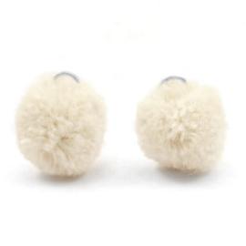 2 x Pompom bedel met oog zilver 15mm Sand beige