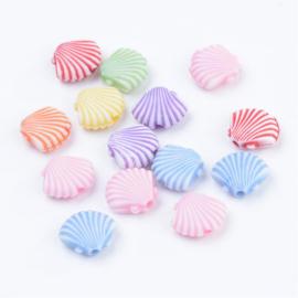 25 x Vrolijke gemixte acryl kralen zee schelp