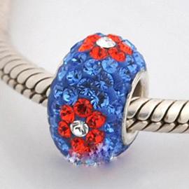 Bloemen Rood op Blauw Swarovski 925 Sterling Zilver