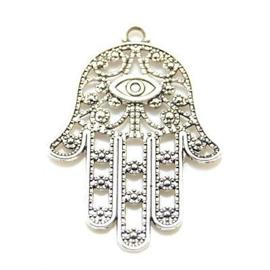 1 x DQ Hamsa Hand van Fatima Antiek Zilver 33×23 mm