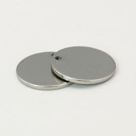 2 x  RVS  blanco bedeltjes Platinum kleur rond 12 x 1mm Gat: 2mm