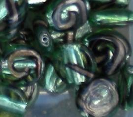 1 keer mooie groene kraal met goud 15 mm rond plat