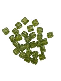 10 Stuks glaskraal crackle kubus transparant mos groen 8 x 9 mm
