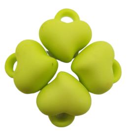 5 x Acryl bedel hart Licht Groen 15 x 15 x 10mm; gat 3mm