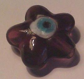 Per stuk Glaskraal bloemmotief met Nazar geluksoog transparant aubergine/paars  21 mm