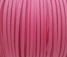 Faux suède veter,  Roze 1 meter x 3mm