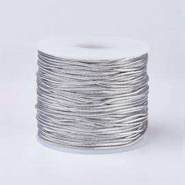 3 meter gekleurd elastisch draad van rubber voorzien van een laagje stof 1mm zilver