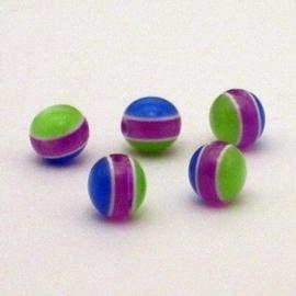 25 stuks   Acryl ronde regenboog kraal 8 mm