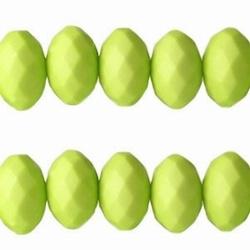 20 stuks Lime Groen acryl facet kraal donut 6 x 10mm; gat: 1,6 mm