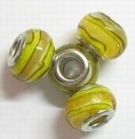 Per stuk Glaskraal European-style beige/geel gestreept 14 mm