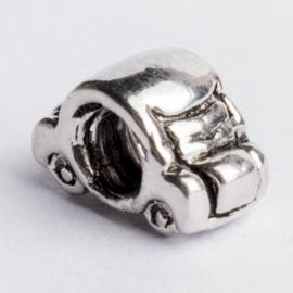 Be Charmed autotje kraal zilver met een rhodium laag (nikkelvrij) c.a.13x 7mm groot gat: 4mm