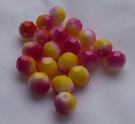 10 stuks prachtige glas facetkralen 8 mm roze, geel en wit gemeleerd