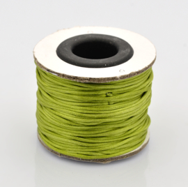 Rol met 30 meter satijn koord  Nylon Marcramé koord 1mm kleur yelow green