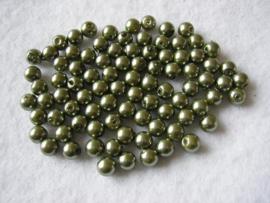 80 x prachtige glasparels 6mm Gat: 1mm kleur: groen