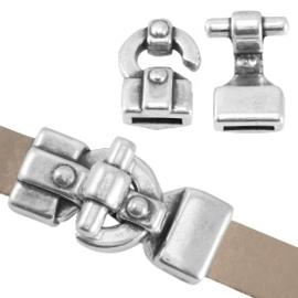 DQ metaal haak slot (voor 10mm plat DQ leer of trendy koord) Antiek zilver (nikkelvrij)