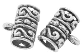 10 x Tibetaans zilveren hanger bails 12 x 8 x 3mm oogje: 2mm